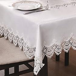 De colour blanco de Mantel y camino de mesa de comedor y las manchas de guipure repelente de efecto de loto prácticamente DE excepcional diseño clásico