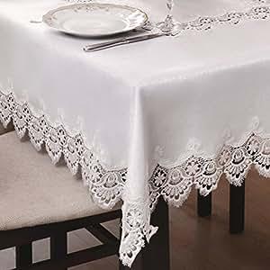 70x150 Rechteckig weiß Tischdecke Gipüre fleckenabweisend Lotus Effekt elegant praktisch außergewöhnlich klassisch