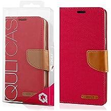 EGO® Etui Tipo Libro Carcasa con Función de Soporte para Samsung Galaxy Grand Prime G530 Rojo Carcasa con Cierre Magnético con Ranuras para Tarjetas Cartera Protección de Lienza para móvil