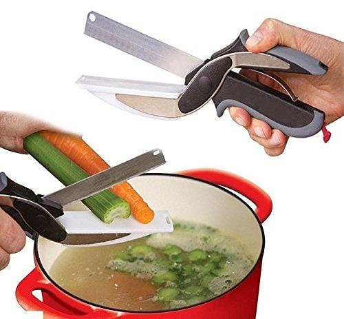 2 in 1 forbici cutter senza tagliere taglia affetta sminuzza verdure coltello da cucina in acciaio inox