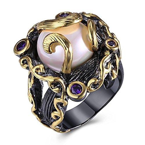 LILIMO Modeschmuck Gold Überzogene Ehering Schwarz Gold Süßwasser Perle Ring Micro-Intarsien Zirkon Weiblich Schwarz Kupfer Ringgröße 6-9,9# (Gelbe 14kt Gold Engagement Ring)