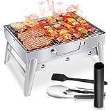 WOSTOO Barbecue Carbone Portatile, BBQ Barbecue a Carbone da Tavolo in Acciaio Inossidabile Pieghevole, Griglia Barbecue Carbonella da Tavolo per Campeggio Picnic Giardino Feste (Argento)