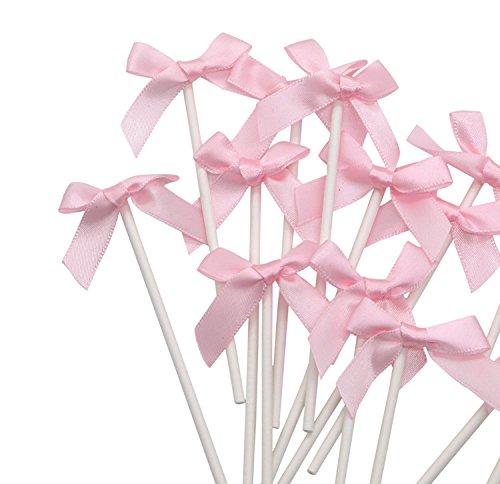 wangc 20Pink Schleife Party Supplies Cake Toppers Pop Sticks handgefertigt Kuchen Dekoration