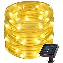 LE 7M 50 LEDs Guirlande Lumineuse Solaire, Cordon Lumineux Étanche, Blanc Chaud, 2 Modes Tube Lumineux , Décoration pour Noël/ Fêtes/ Mariage