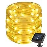 LE 5m Solar Lichtschlauch Lichterkette IP55 Wasserdicht Solarlichterkette 1,2V Außenlichterkette Schlauchlicht Weihnachtsbeleuchtung Beleuchtung für Hochzeit Party (Warmweiß)
