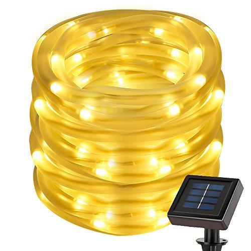 LE Cordon Lumineux Solaire 7m Blanc Chaud 3000K 2 Modes d'Eclairage pour Noël Fêtes Mariage Décoration Extérieure