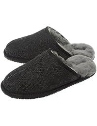 SHEPHY Riley Merino Sheepskin & Fabric Upper Men's Mule Slippers