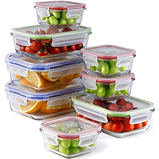 Glass Container with lid - 3 Sizes, 8 Pieces 1 Compartment Glass Food Containers   Glass Meal Prep Containers   Oven, Microwave, Freezer, Dishwasher Safe