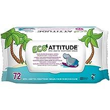 ATTITUDE, Eco-Baby Toallitas, 100% biodegradables y paños sin perfume, 72