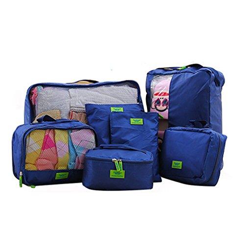 Extsud Set di 7 Pezzi Organizzatori da Viaggio Impermeabili, Porta Abiti Scarpe Trucchi Cavi Articoli da Toeletta Accessori Elettronici, Borsa Sacchetto Valigie Portatile Portaoggetti Kit Completo (Blu)