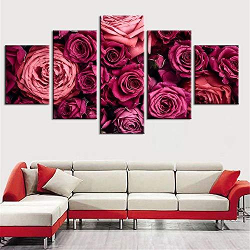 mmwin Impresiones de la Lona Imágenes Arte de la Pared 5 Unidades Rose Flor Planta Decoración del Hogar Cartel Modular para la Sala de Estar de Trabajo