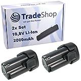 2x Trade-Shop Premium Li-Ion Akku 10,8V / 2000mAh ersetzt Black&Decker BL-1510 BL-1310 BL-1110 LB-12 LBXR-12 LBX-12 für EGBL-108 EGBL-108KB GKC-108 HPL-106 HPL-10IM HPL-10RS LDX-112 LDX-112C PSL-12