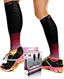 Physix Gear Sport Compression Calf Sleeves for Men & Women 20-30mmhg - Best Footless Compression Socks for Shin Splints, Running, Leg Pain, Nurses & Pregnancy -Increase Circulation - BLK/PNK L/XL