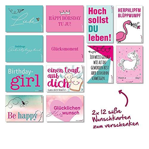24 Wunsch-Postkarten mit Sprüchen I dv_203 I DIN A6 I Spruch-Karten Set lustig witzig Zitate Liebe Freundschaft Motivation für Bilderrahmen beste Freundin