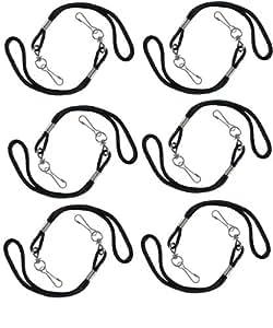 Lot de 12 mini cordons pour poignets et sifflets de couleur noir -Visiodirect -