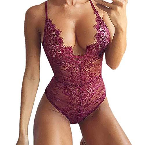 MORCHAN❤️Lingerie Femme Dentelle Corset Armature Racy Body en Mousseline de Soie Tentation sous-vêtements Soutien-Gorge Corps Costume Robe vêtements de Nuit(S,Vin)