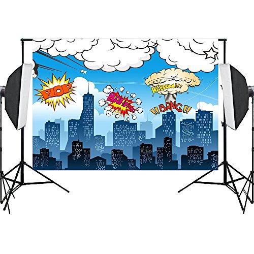 Aisnyho Superhero Fotografie Hintergrund Geburtstag Foto Hintergründe Requisiten Vinyl Kulissen für Fotografie Fotograf Studio Video Party Banner 7x5ft - 5' - Banner Display