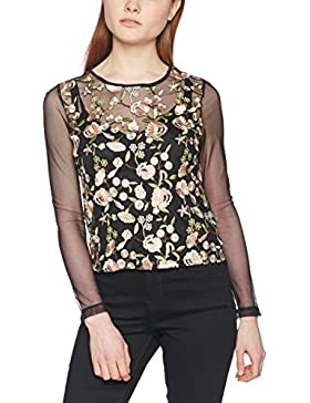 New Look Floral Mesh, Maglia a Maniche Lunghe para Mujer