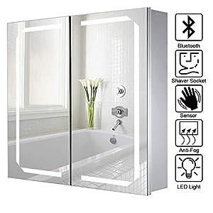 Lifelook Spiegelschrank mit Beleuchtung Badschrank Aluminium Badezimmer Spiegelschrank mit Sensorschalter, Steckdose, Bluetooth Lautsprecher, Demister-Pad 65x60x13cm (Stil 2)