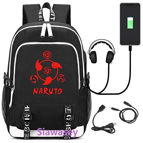 Betrothales Laptop Rucksack Anime Naruto Cosplay Rucksack Daypack Schultasche Laptop Schule Tasche Mit USB Ladeanschluss (Color : 2, Size : One Size)