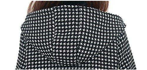 Tribear Damen Winterjacke Checked Hooded Parkajacke Kapuzenjacket mit Taschen Schwarz