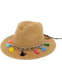 214348861549d Sombreros Sombrero De Sol Sombrero Ancho De Sombrero Playa De Bastante  Dobladillo De Verano Gorra Elegante con Borlas De Colores Gorras De…