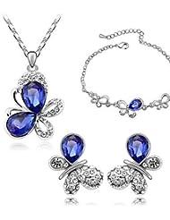 joyas de cristal de toda la venta Conjunto elegante diseño único cristal colgante redondo regalo pendientes collar anillo de novia