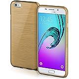 Funda protectora OneFlow para funda Samsung Galaxy A3 (2016) Carcasa silicona TPU 1,5mm | Accesorios cubierta protección móvil | Funda móvil paragolpes bolso cepillado aluminio diseño en Ivory-Gold