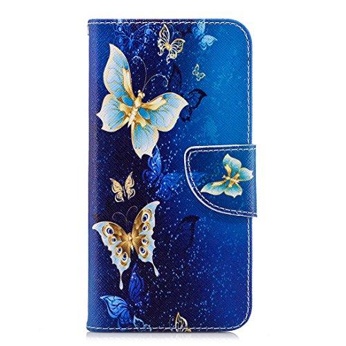 Für Huawei P20 Lite Hülle, Pheant® Handyhülle Tasche aus PU Leder Silikon Schutzhülle Klapphülle mit Standfunktion Kartenfach und Magnetverschluss Marineblau Schmetterling