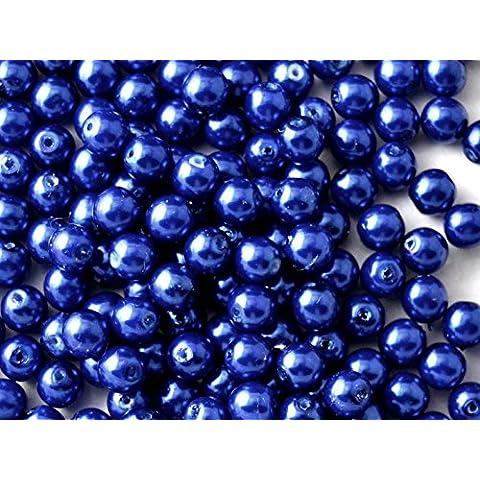 50pc Ceco Vetro Pressato Perle, Imitazione di perle, Tondo Diametro 6 mm, Colore: Blue Pastel