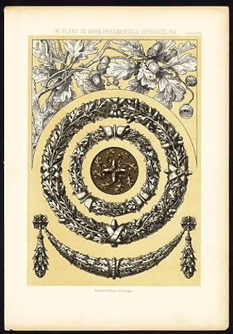 ThePrintsCollector Antique Print-Ornaments-Plant-Oak-Acorn-Leaves-Design-Van
