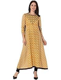 Gulmohar Jaipur Mustard Color Cotton Round Neck A-line Women's Kurti