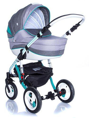 Kombi Kinderwagen Travel System Adamex Aspena Grand Prix GP-6 MINT-WHITE 3in1 Buggy Sportwagen Babyschale Autositz 0-10kg