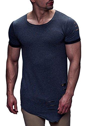 LEIF NELSON Herren T-Shirt Rundhals Kurzarmshirt Top Basic Shirt Crew Neck Vintage Sweatshirt LN06261 S-XXL; Größe S, Anthrazit | 04251460506953