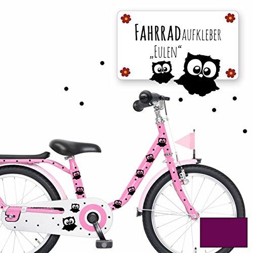 ilka parey wandtattoo-welt® Fahrradtattoo Fahrradaufkleber Fahrradsticker Aufkleber Sticker Eulen und Punkte M1893 ausgewählte Farbe: *lila*