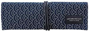 Saki P-661 Roll Pen Case with Traditional Japanese Fabric - Navy