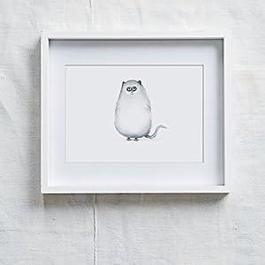 Fine Art Druck auf hochwertige Künstlerpapier von Hahnemühle Charakter Katze Katie Kunstdruck für Kinderzimmer .