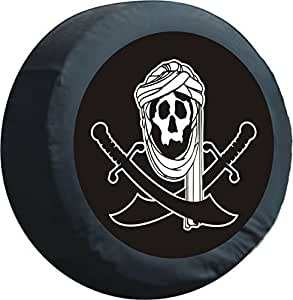PREMIUM cache roue de secours-motif pirate orient pour roue noir, 60 cm-plaques de recouvrement