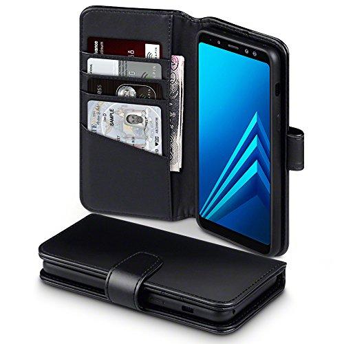 Galaxy A8 2018 Cover, Terrapin di Vera Pelle Della Cassa del Raccoglitore con Funzione di Appoggio Posteriore per Samsung Galaxy A8 2018 Custodia Pelle, Colore: Nero