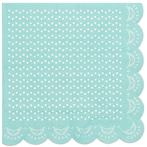 20 Papier-Servietten mit Weißem Spitzen-Perlen-Muster und Wellenrand in Mint-Grün
