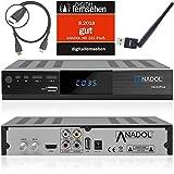 Anadol HD 222 Plus HD HDTV digitaler Satelliten-Receiver (WiFi, HDTV, DVB-S2, HDMI, 2X USB 2.0, Full HD 1080p, YouTube) [vorprogrammiert] inkl. HDMI Kabel - schwarz (Mit HDMI Kabel und WLAN Stick)