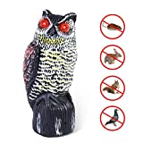 H.Yue Solar Powered Horned Owl Decoy, Upgraded 2019 New Version - Garden Scarecrow Bird Repellent with Flashing Eyes & 3 Different Scary Sounds, Natural Enemy Pest Deterrent Scarecrow (Large)