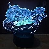 3D Led Illusion Tischlampe 7 Farben ändern Nachtlicht für Schlafzimmer Home Decoration Hochzeit Geburtstag Weihnachten und Valentine Geschenk Künstlerische und romantische Atmosphäre(Motorrad)