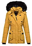 Marikoo Designer Damen Winter Jacke Parka Mantel Teddyfell warm gefüttert B368 (S, Gelb)