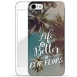 Finoo iPhone 8 Weiche flexible Silikon-Handy-Hülle | Transparente TPU Cover Schale mit Motiv | Tasche Case Etui mit Ultra Slim Rundum-schutz | Life is better in Flipflops