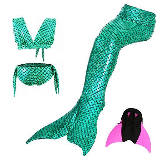 WaterLife Meerjungfrau Flosse Zum Schwimmen Flossen Für Mädchen Kinder Mit Bikini, 7-8 Jahre, Jade