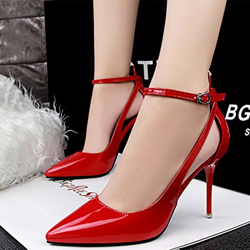 Oasap Women's Fashion Pointed Toe Ankle Strap Cut out High Heels Pumps Red