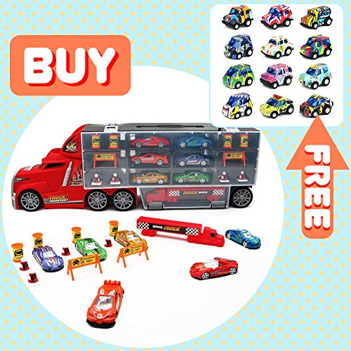 Nuheby Autotransporter LKW Spielzeug mit 6 Mini Autos, Kinder Transporter Kindergeburtstag Geburtstag Geschenkt Spiele für Mädchen Junge Kinder ab 3 4 5 Jahren