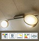 flache längliche LED-Panel 100x10cm warmweiß 3200 Lumen, Wohnzimmer-Lampe, Büro-Paneel 3000 Kelvin, LED-Deckenlampe LED-Deckenleuchte, 34W, echteckig, ultraslim,Metall / Kunststoff alu/wei [EEK A+]