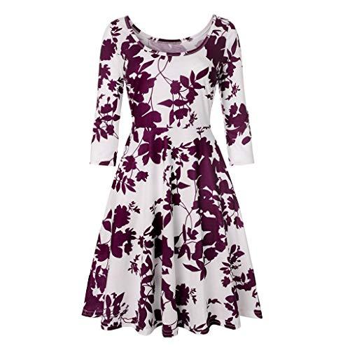 (Produp Frauen Jugend Mode Kleider Hülse Mit DREI Vierteln Druck Floral Eine Linie Lässige Kleidung Partykleid Prom Swing Lässige Komfortable Kleid)